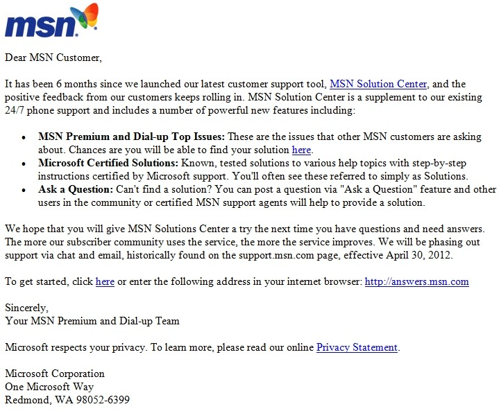 MSN Phasing out Chat and E-mail Support For Subscription Plans | The